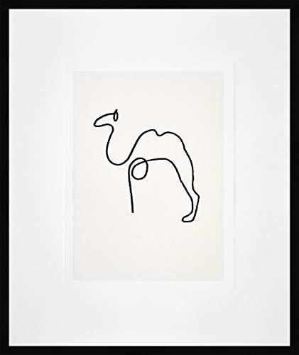 Nielsen Home Bild mit Rahmen 50x60 cm (hoch) - Picasso Le Chameau I das Kamel - Kunstdruck - Holzrahmen Schwarz - Premium Poster gerahmt Made in Germany