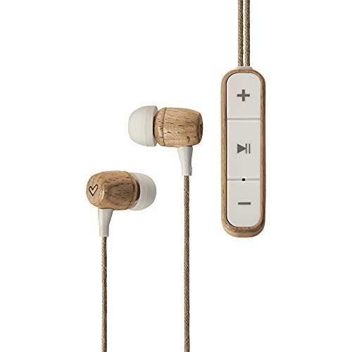 Energy Sistem Earphones Eco Bluetooth Beech Wood Auriculares (Intrauditivos, Madera Sostenible, Cable de cáñamo, Micrófono, USB Tipo C, Bluetooth 5.1)- Haya