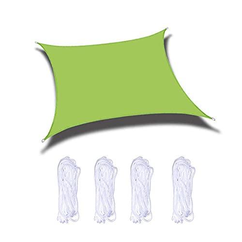 Pantalla de protección solar de 3 x 3 m, de seguridad, varios tamaños con cuerda de sujeción, sin sabor, para terraza, patio, patio, jardín, actividades de césped, amarillo, verde, 2 x 3 m