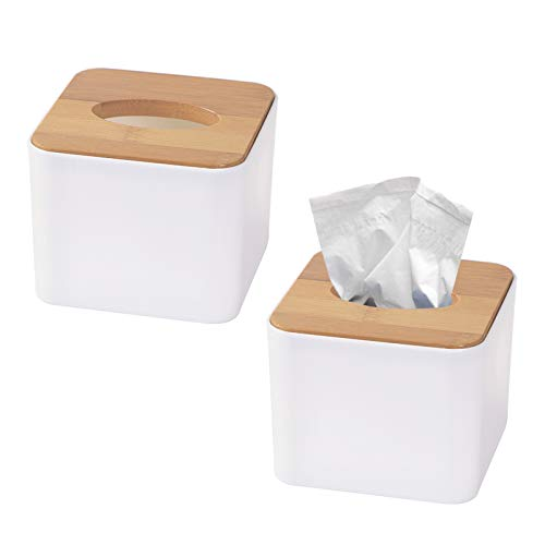 Dzmuero Kosmetiktücherbox Bambus,2Stücke Taschentuch Box, Multifunktions Tissue Box White Tissue Storage Box Square Paper Facial Tissue Box Holzabdeckung Serviettenspender für Zuhause Küche Auto