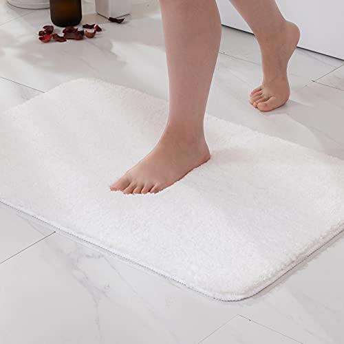 MIULEE Tappetino da Bagno 1 Pezzi Assorbente Antiscivolo con Tappeti ad Alta Idroscopicità in Microfibra Morbido per Camera da Letto Cucina Ingresso 50X80 CM Bianco