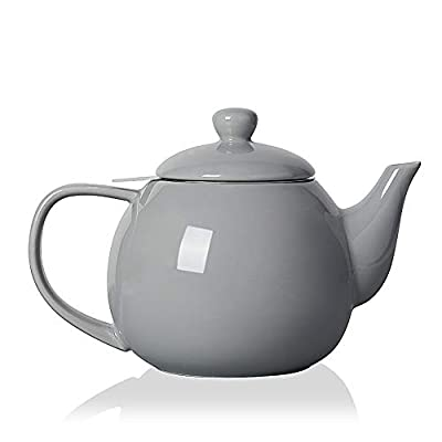 SWEEJAR Porcelain Teapot with Infuser and Lid,Teaware with Filter 30 OZ for Tea/Coffee/Milk/Women/Office/Home/Gift (Gray)