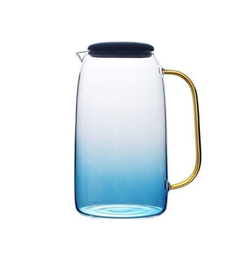 SSSSY Jarra Agua Recién mármol Azul del Color del gradiente de la Botella de Agua fría de Cristal Conjunto Resistente a Altas temperaturas Tarro de Cristal Jarra Caldera (Color : Kettle)