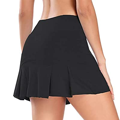 Women Pleated Active Athletic Skorts with Hidden Pocket Tennis Golf Fitness Skirts Built in Shorts (Black, XX-Large)