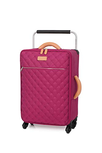 IT Luggage World's Lightest 59.5cm Quilte Four Wheel Spinner Carry on Suitcase Red