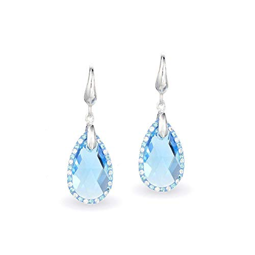 LA SENJA Pendientes de lágrima de aguamarina hechos a mano, pendientes de plata de ley 925, pendientes de cristal azul, pendientes colgantes
