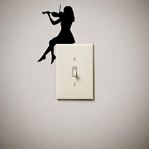 Tocando el violín pegatinas de pared de vinilo lindo e interesante interruptor de luz interruptor de luz cubierta enchufe aula dormitorio gimnasio decoración