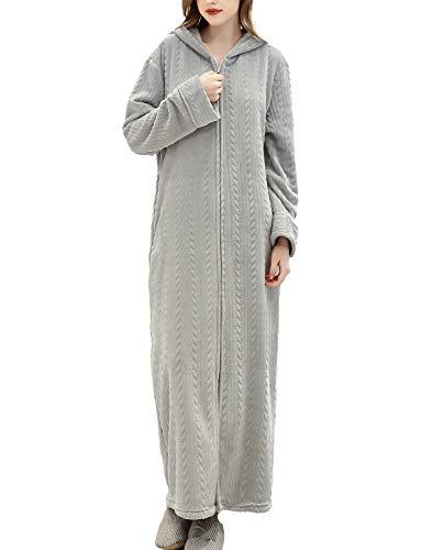 TIANNBU Lounge Morgenmantel mit Kapuze Lange Bademantel Extra-weiches Fleece mit Zopfmuster für Damen,Grau XL