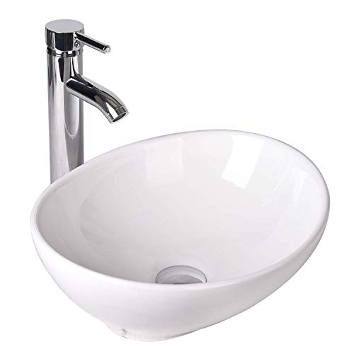 YOURLITE Oval Ceramics Vessel Sink and Faucet Combo White Countertop Basin Bathroom Vanity Utility sink