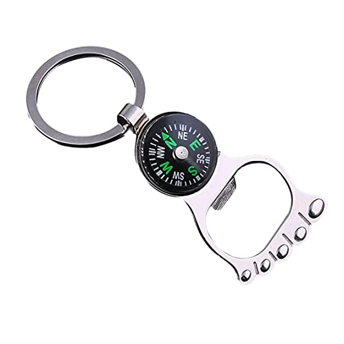 Foot Compass Beer Bottle Opener Keychain Creative Metal Decoration Keychain Pendant Ornament Christmas Gift Unisex - Silver