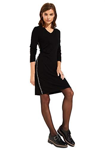 comma Casual Identity Damen Feinstrickkleid mit kontrastigen Seitenstreifen Black 36