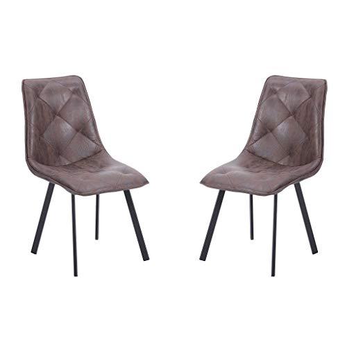 Diamond, Pack 2 sillas de Comedor, Salón o Cocina, Acabado en Tejido Color Chocolate, Medidas: 45 cm (Ancho) x 63 cm (Fondo) x 87 cm (Alto)