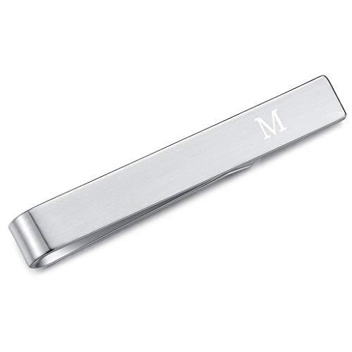 HONEY BEAR Skinny Clip Pasador de Corbata -Carta Inicial Alfabeto para Hombre/Chicos Necktie, Acero Inoxidable,Boda Negocio Regalo,4cm,Cepillado Plata (M)