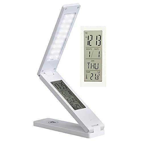 Lámpara De Escritorio LED Plegable Lámpara De Pared Luz De Pared LED Cuidado De Los Ojos Lampara De Lectura Estudiando Luz De Mesa Atenuación Continua Luz De Noche Tiempo Fecha Temperatura