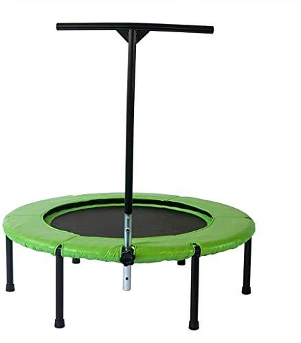 YUNLV Mini trampoline pliable avec rampe réglable, rebond intérieur pour adultes et enfants, parfait entraînement cardio urbain, système de corde élastique, charge maximale 260 kg, Vert
