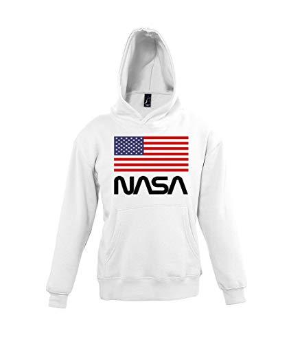 Youth Designz - Felpa con cappuccio da bambino, modello NASA USA bianco 11-12 Anni