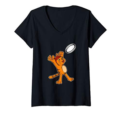 Damen Lustiger Rugby Spieler Katze Fängt Rugby Ball Kostüm T-Shirt mit V-Ausschnitt
