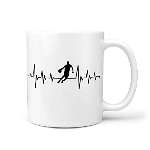 Knowikonwn Taza de café Baloncesto corazón pulso taza con mango porcelana única taza blanco 11 oz