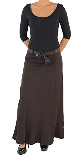 Damen Business Rock Maxirock Lang Stoffrock Damenrock Bodenlang bis Übergröße Braun XL