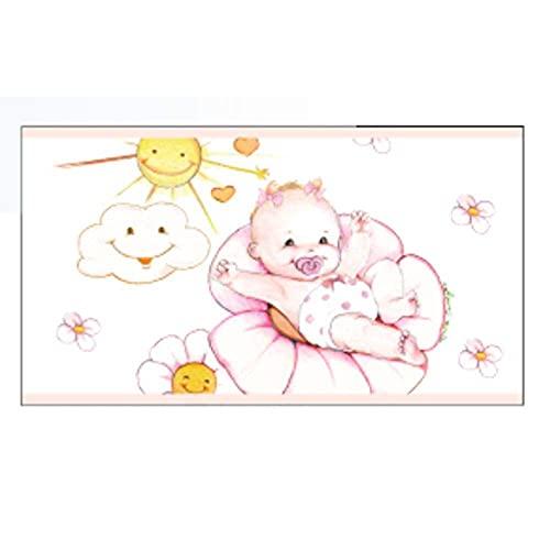 100 PZ Bigliettino Bomboniera NASCITA bambina con nuvoletta e sole