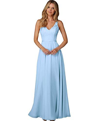 Meales Damen V-Ausschnitt Ballkleider Abendkleider Elegant Lang Chiffon Spitze Partykleider...