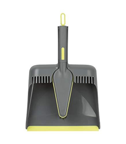Casabella Way Clean Angle Dustpan & Brush Dustpan and Brush Set, Medium, Green and Taupe