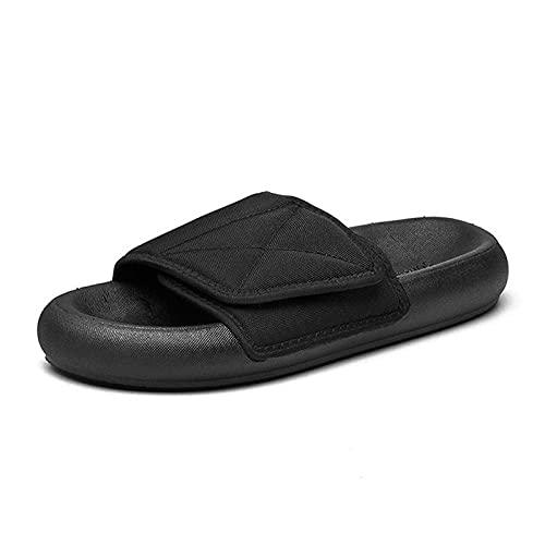 Pantuflas ortopédicas para hombre de ajuste ancho para diabéticos, pies de mediana edad hinchados, pegatinas mágicas anti-cool-black_43, zapatos diabéticos ajustables
