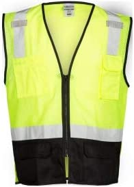 ML Kishigo 1509 Black Bottom Safety 5XL Vest - Yellow Lime overseas Tampa Mall 4XL