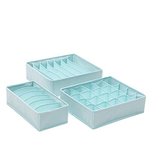 Lvjkes Organizador Ropa Interior Cajon, 3 Piezas Cajas Organizadoras, Caja de Almacenamiento Plegable con Compartimentos 6/7/20, Caja Organizadora de Tela para Calcetines, Sujetadores, Toalla (Azul)