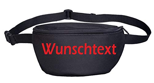 Bauchtasche mit Wunschtext - Blockschrift - Bedruckt - Gürteltasche Hipbag Druckfarbe: rot
