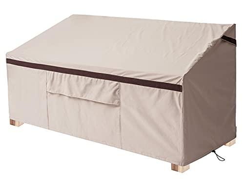 Funda impermeable para sofá de 3 plazas, para exteriores, con rejillas de ventilación, color beige y marrón