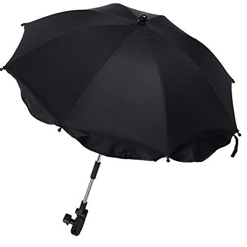 Ombrelle Poussette Universelle anti UV 50+, Parapluie Poussette Universelle avec support Amovible Réglable, Parasol Bébé Confort Flexible, Parapluie landau Fixation pour Tube Rond ou Ovale