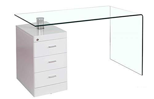 HABITMOBEL Mesa Despacho Escritorio Cristal Curvado, cajonera, 125x65 cms