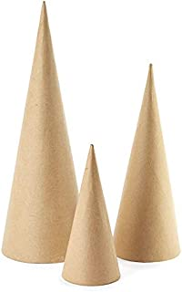 Factory Direct Craft Package of 6 Assorted Size Paper Mache Doll Cones for Making Dolls, Angels, Tree Toppers and Other Crafts