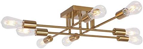 VINLUZ Modern Semi Flush Mount Light 8 Light Brushed Brass Industrial Sputnik Ceiling Light product image