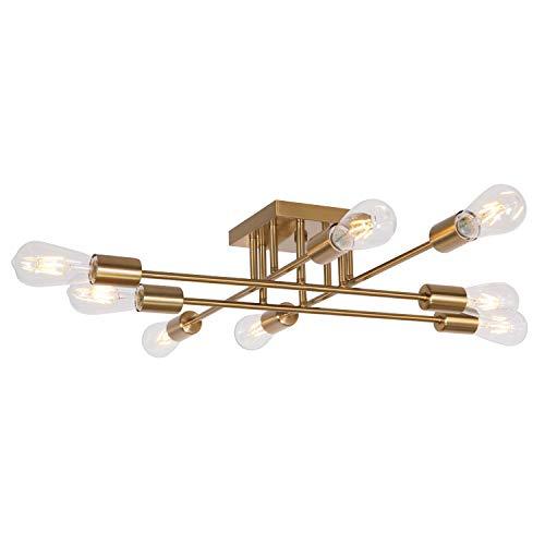 VINLUZ Modern Semi Flush Mount Light 8 Light Brushed Brass Industrial Sputnik Ceiling Light Mid Century Lighting Fixture for Dining Room Living Room Kitchen Bedroom Foyers