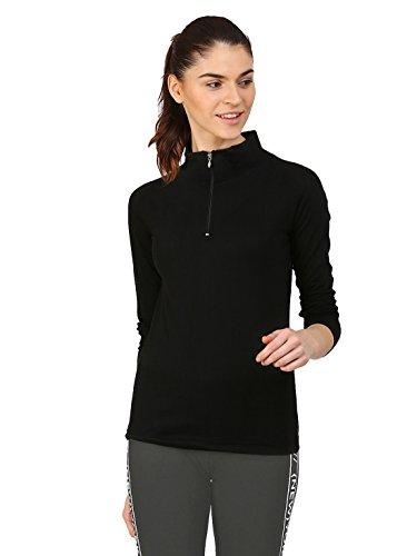 Ap'pulse Women's 1/4 Zip Slimfit Raglan Sleeve Tshirt
