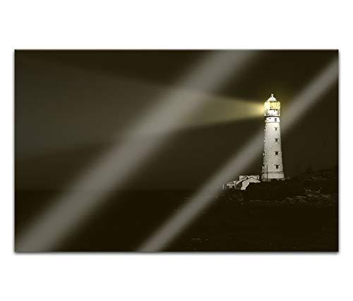 Acrylglasbilder 80x50cm Leuchtturm Nacht Lichtstrahl Meer Acryl Bilder Acrylbild Acrylglas Wand Bild 14H460