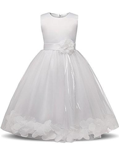 NNJXD Mädchen Tutu Blütenblätter Schleife Brautkleid für Kleinkind Mädchen, Großes Weiß, 7-8 Jahre/ Etikettgröße- 150