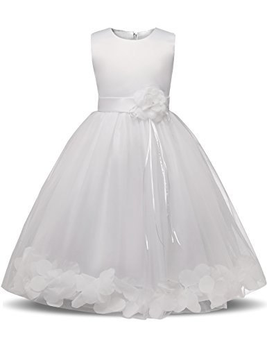 NNJXD Mädchen Tutu Blütenblätter Schleife Brautkleid für Kleinkind Mädchen, Großes Weiß, 3-4 Jahre/ Etikettgröße- 110