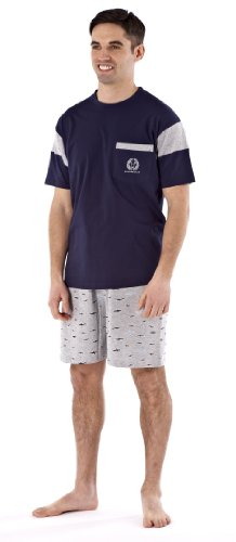 Harvey James Ensemble de Pyjama Coton Court Motif Oiseau Homme 9784 (Bleu Marine) L