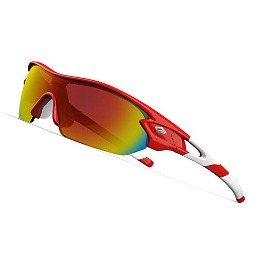 TOREGE Polarized Sports Sunglasses with 3 Interchangeable Lenes for Men Women Cycling Running Driving Fishing Glasses TR02 (Red&White&Red Lens)