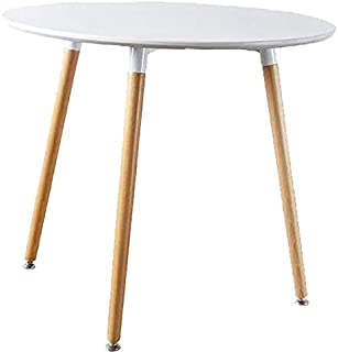 Mlfyho Dining Table White Modern Round Table with Wood Legs for Kitchen Living Room Leisure Pedestal Table Wooden Coffee Table White Dining Room Home Furniture