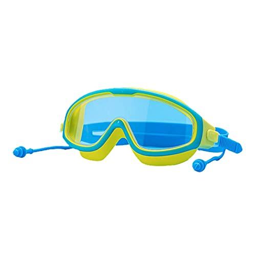 XUEXIU Niños Gafas De Natación Anti-Niebla A Prueba De Agua A Prueba De Agua De Alta Definición Gafas Deportivas De Agua Grande con Tapones para El Exterior (Color : Blue Yellow)