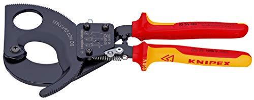 KNIPEX 95 36 280 Kabelschneider Ratschenprinzip isoliert mit Mehrkomponenten-Hüllen, VDE-geprüft 280 mm