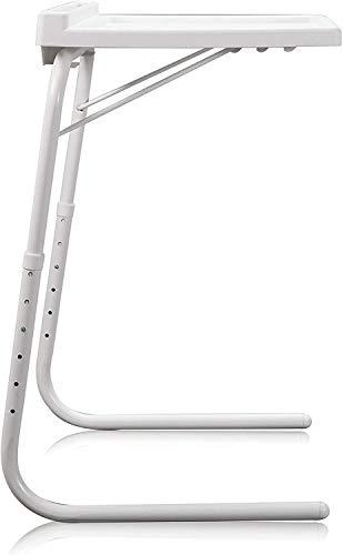 Mesa Plegable Auxiliar Mesa portátil con sujeción para Tablet Mesa Ajustable y Plegable Ranura para Tableta Multifuncional para Sofá/Cama/Escritorio (Blanco)