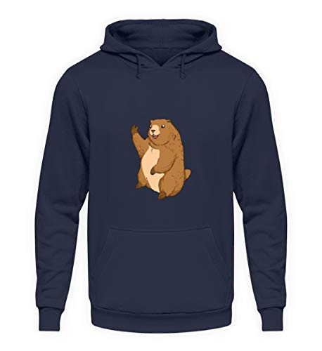 EBENBLATT Marmot Maskot Murmeltier Geschenk - Unisex Kapuzenpullover Hoodie -S-Oxford Navy