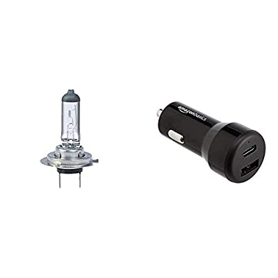 Simply S499BL H7 Car Headlight Bulb — 12V, 55W, Complies with ECE R-37, UV Filter, Suitable for all Headlights, Maximum Visibility + AmazonBasics USB-C (15W) and USB-A (12W) Car Charger