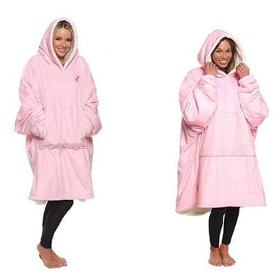 TOPENTAR Albornoz con capucha, para spa, con capucha, largo, suave, de felpa, rosa claro, Taille unique