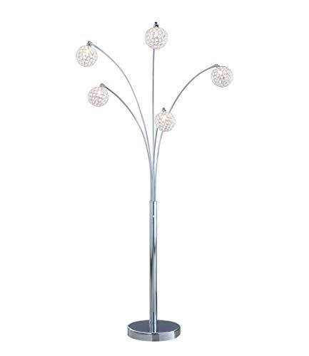 "Artiva USA A51118FSN Manhattan Handcrafted Crystal Arched Floor Lamp, 84""H, Chrome"